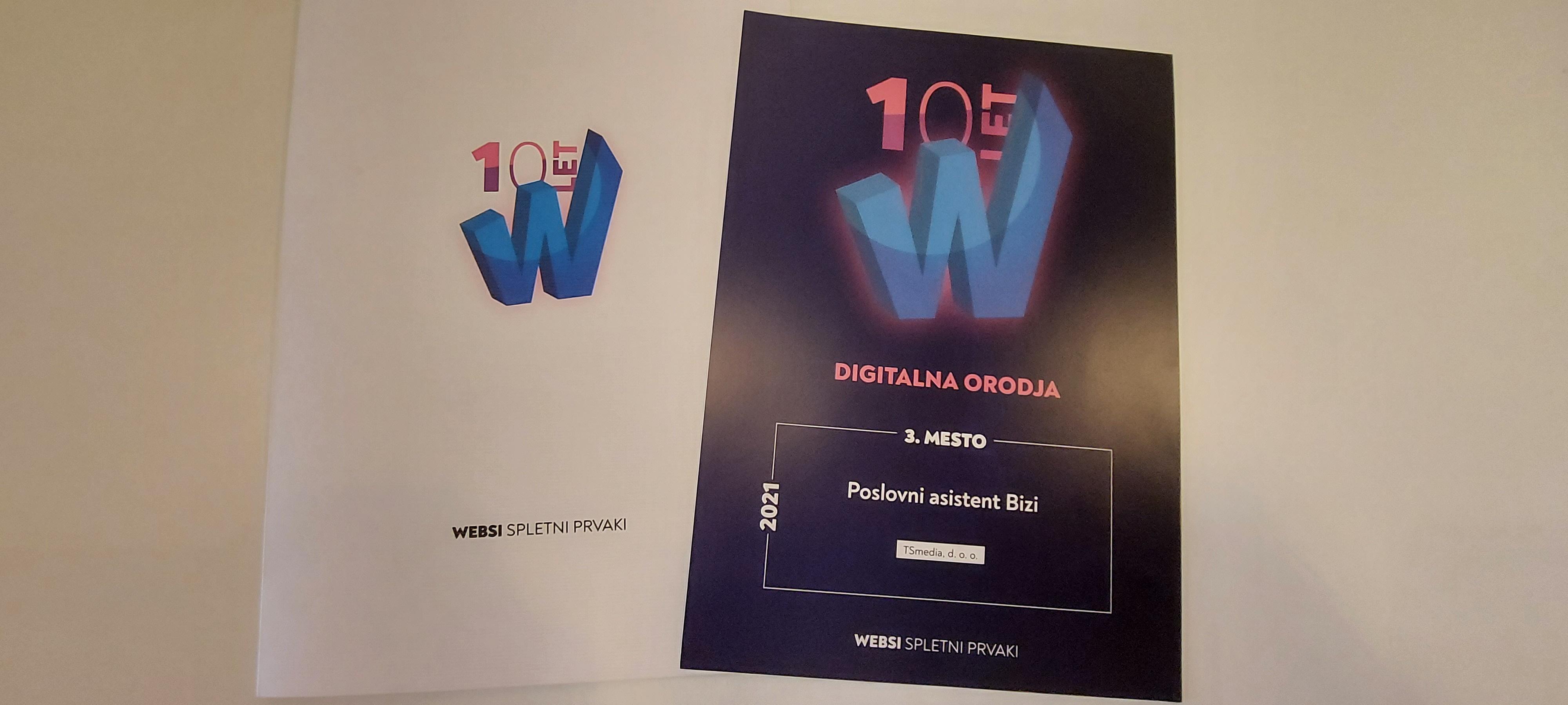 Bizi prejel nagrado WEBSI Spletni prvaki 2021